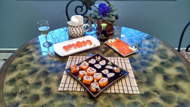 Salmon nigiri, sashimi, and maki